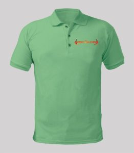 Rise again Green polo shirt with orange logo Image
