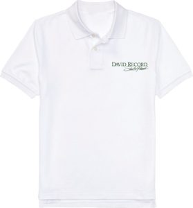 WHITE POLO SHIRT DAVID RECORD with Green logo Image